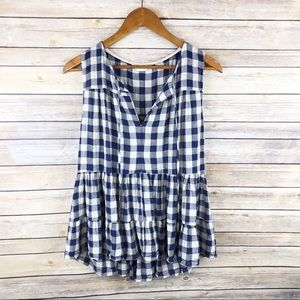 Anthropologie Skirted Gingham Tiered Peplum Top L